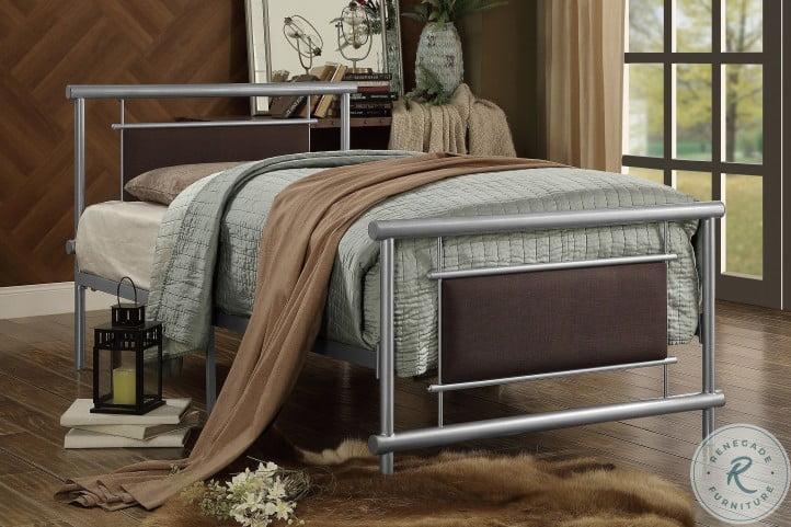 Gavino Gray And Brown Twin Metal Panel Bed
