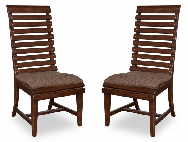 Whiskey Barrel Oak Slat Back Side Chair Set of 2