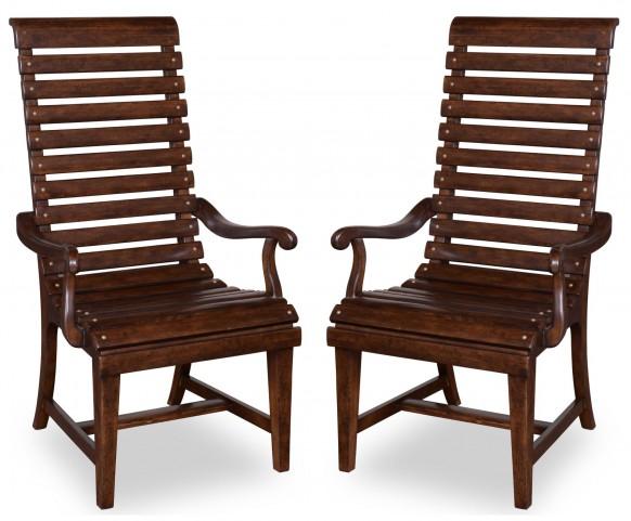 Whiskey Barrel Oak Slat-Back Arm Chair Set of 2