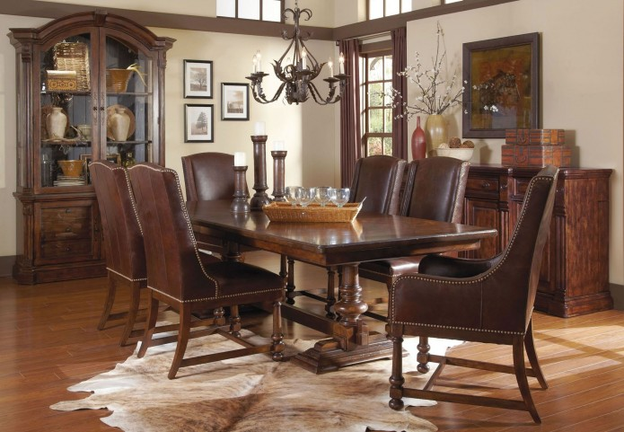 Whiskey Barrel Oak Trestle Extendable Dining Room Set