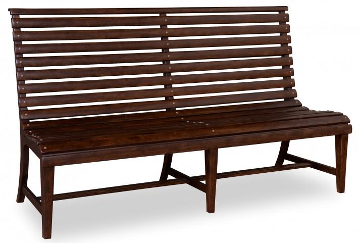Whiskey Barrel Oak Slat-Back Bench