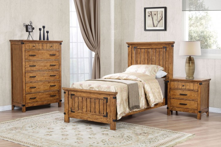 Brenner Rustic Honey Youth Panel Bedroom Set