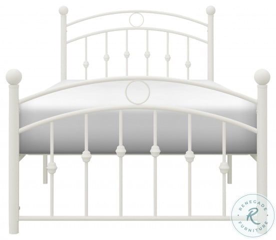Tiana White Twin Metal Poster Bed