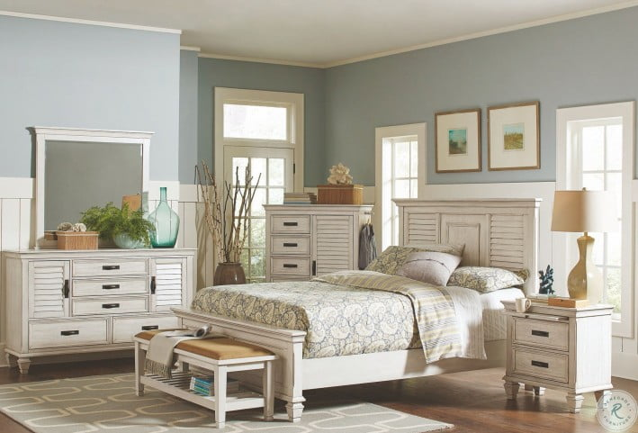 Liza Antique White Panel Bedroom Set