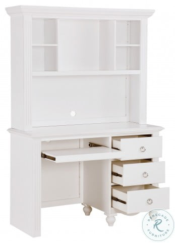 Meghan White Writing Desk With Hutch