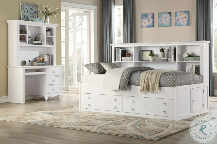 Meghan White Full Lounge Bookcase Storage Bed