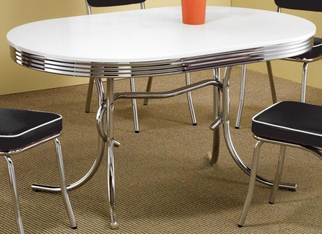 White Oval Retro Dining Table 2065