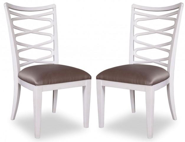Cosmopolitan Parchment Ribbon Back Side Chair Set of 2