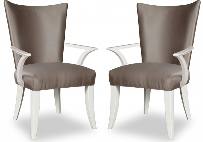 Cosmopolitan Parchment Upholstered Arm Chair Set of 2