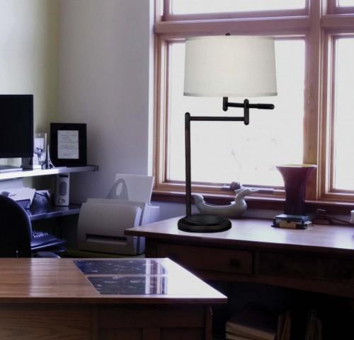 Theta Copper Bronze Swing Arm Table Lamp