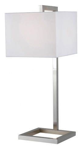 4 Square Brushed Steel Table Lamp