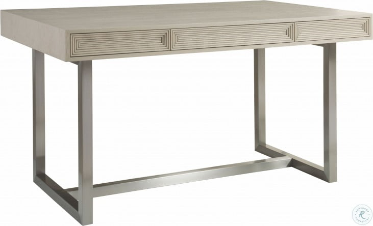 Signature Designs Brushed Stainless And Cerused Grey Gradient Bistro Table Set