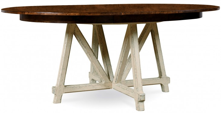 Echo Park Aged Canvas Base Round Extendable Dining Table