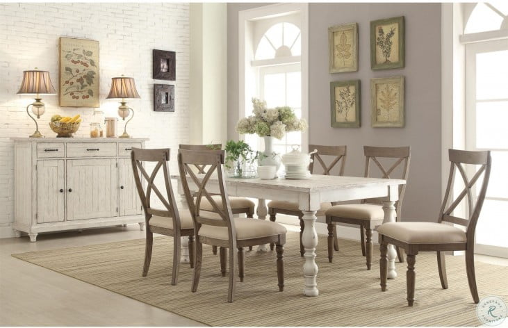 Aberdeen Weathered Worn White Extendable Rectangular Dining Room Set