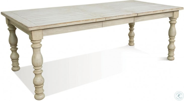 Aberdeen Weathered Worn White Extendable Rectangular Dining Table
