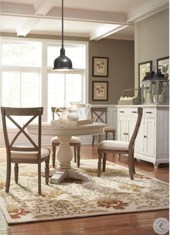 Aberdeen Weathered Worn White Extendable Round Dining Table