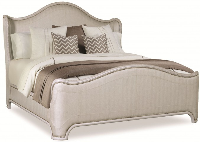 Chateaux Grey Queen Upholstered Shelter Bed