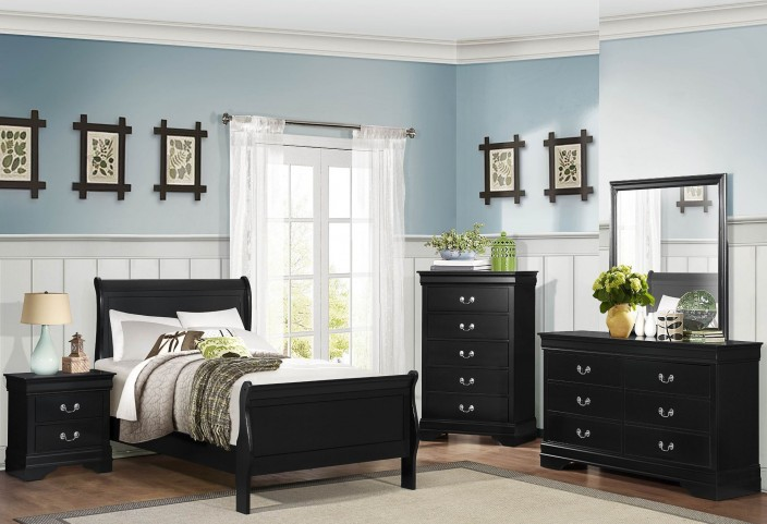 Mayville Burnished Black Youth Sleigh Bedroom Set