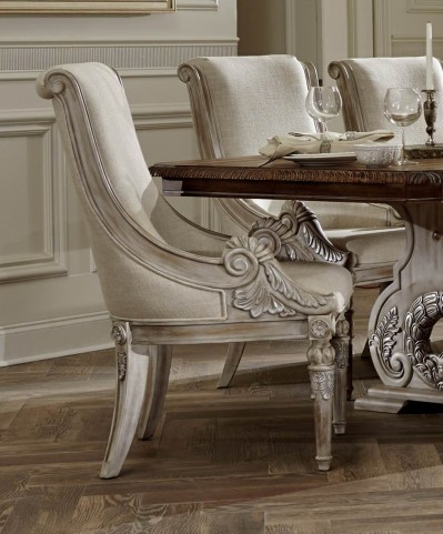 Orleans II White Wash Linen Arm Chair Set of 2