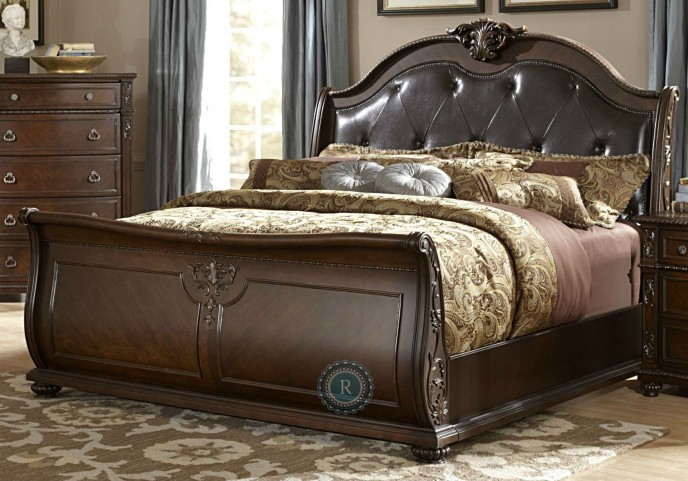 hillcrest manor king genuine leather sleigh bed from homelegance 2169slk 1ek coleman furniture. Black Bedroom Furniture Sets. Home Design Ideas
