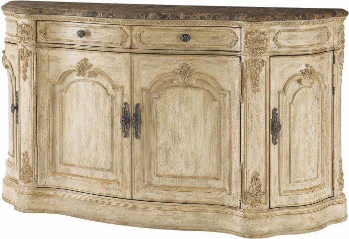 Jessica Mcclintock Boutique White Veil Marble Top Buffet