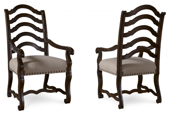 Collection One Harvest Tortoise Espresso Arm Chair Set of 2