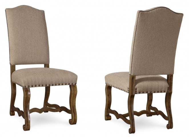 Collection One Harvest Upholstered Burnished Pine Side Chair Set of 2