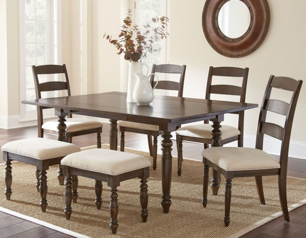 Bexley Warm Espresso Rectangular Drop Leaf Dining Room Set
