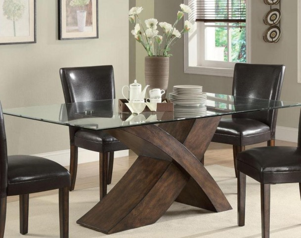Nessa Large Scaled X Base Rectangular Dining Table With Glass Top