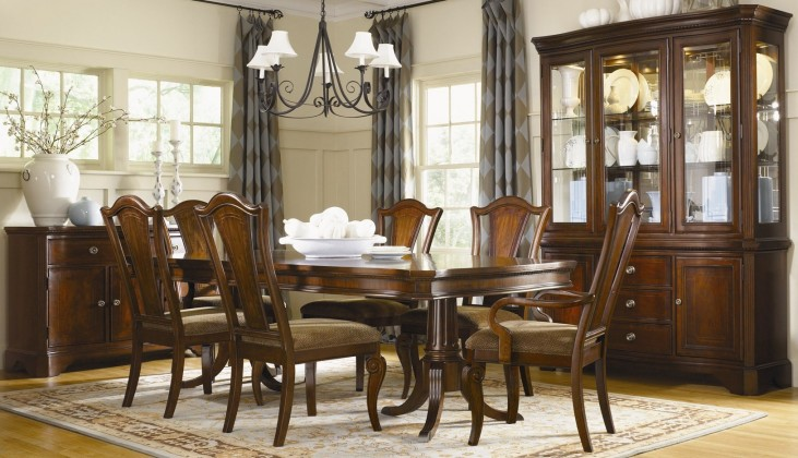 American Traditions Rectangular Extendable Pedestal Dining Room Set From Legacy Classic