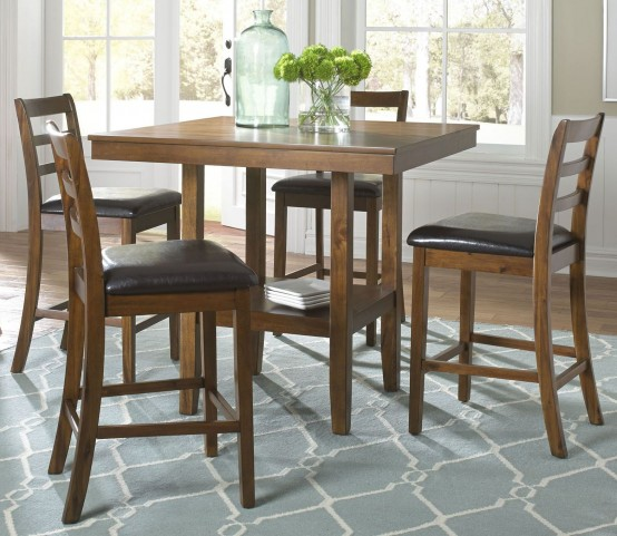 Tucson Dining II Oak 5 Piece Gathering Table Set