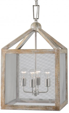 Nashua 4 Light Wooden Lantern Pendant