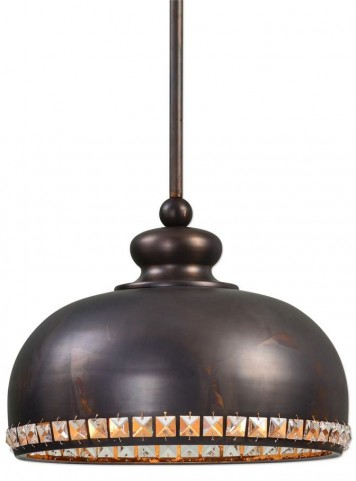 Brusett 1 Light Distressed Bronze Pendant