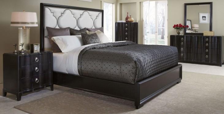 Cosmopolitan Ebony Upholstered Panel Bedroom Set