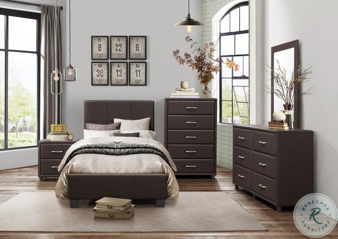 Lorenzi Dark Brown Youth Upholstered Platform Bedroom Set