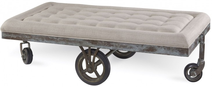 Epicenters Williamsburg Upholstered Factory Cart Cocktail Table
