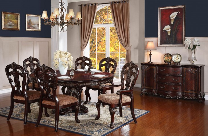 Deryn Park Cherry Extendable Oval Dining Room Set