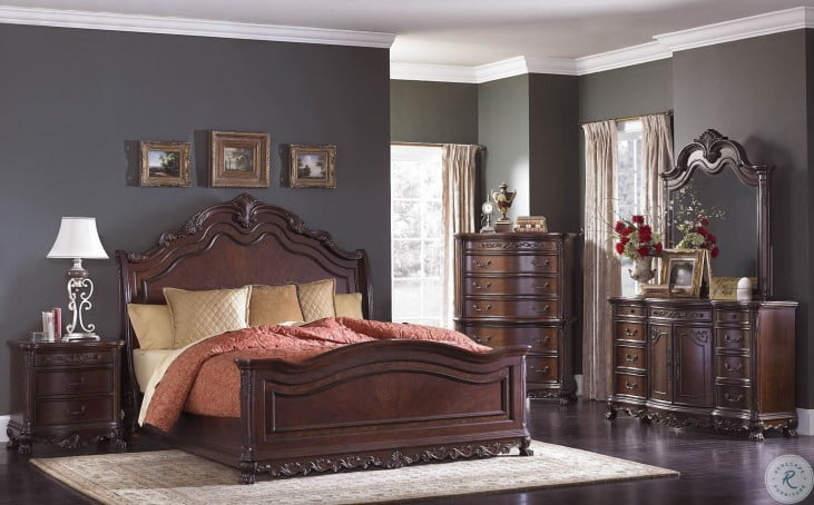 Deryn Park Cherry Sleigh Bedroom Set