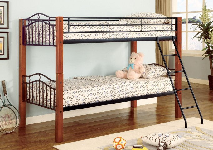 Cherry Twin Over Twin Bunk Bed (Convertible/Detatchable) 2248