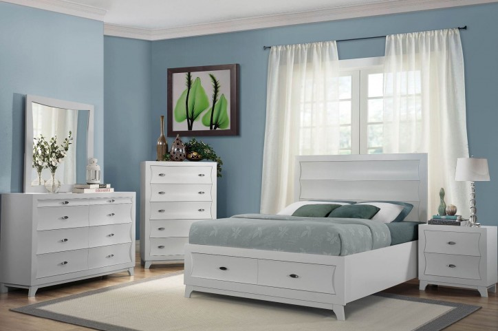 Zandra White Platform Storage Bedroom Set