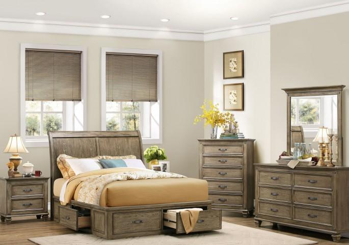 Sylvania Driftwood Platform Storage Bedroom Set