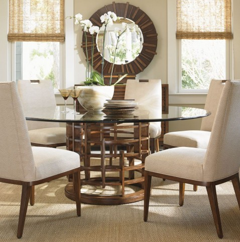 "Island Fusion 60"" Meridian Round Glass Dining Room Set"
