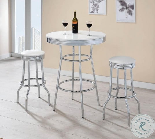 2300 Glossy White and Chrome Bar Table