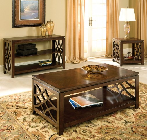 Woodmont Brown Cherry Stain Occasional Table Set