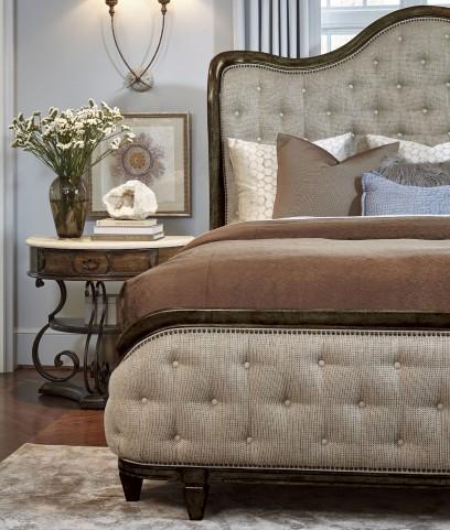 Continental Vintage Melang Upholstered Shelter Bedroom Set