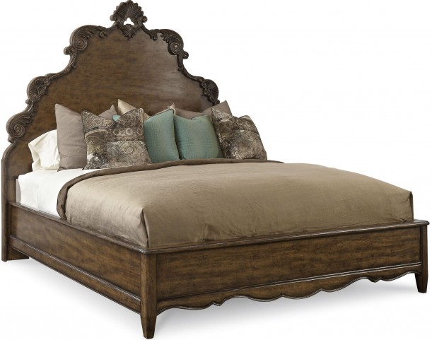 Continental Weathered Nutmeg King Panel Bed
