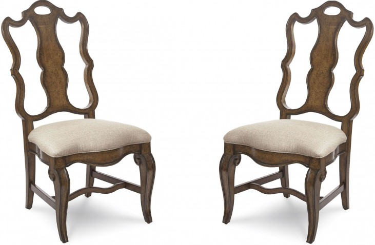 Continental Weathered Nutmeg Splat Back Side Chair Set of 2