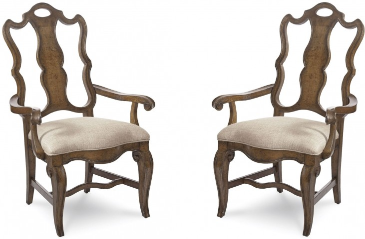 Continental Weathered Nutmeg Splat Back Arm Chair Set of 2