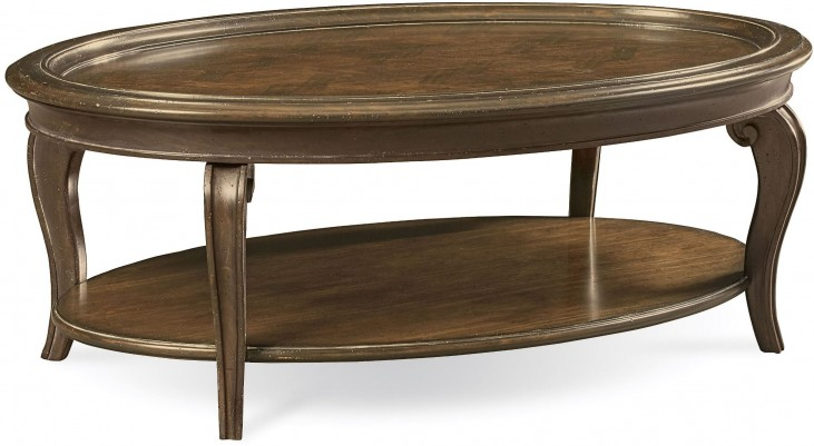 Continental Weathered Nutmeg Oval Cocktail Table