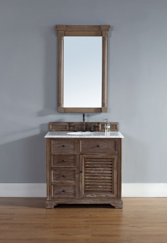 "Savannah 36"" Driftwood Single Vanity With 2Cm Carerra White Marble Top"